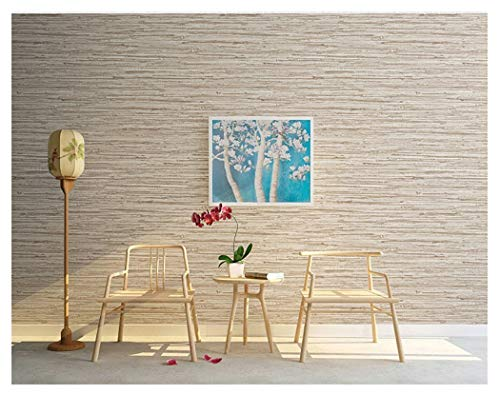 Blooming Wall: Faux Grasscloth Pattern Wallpaper Roll for Livingroom Bedroom, 20.8 In32.8 Ft=57 Sq.ft,Linen&Rice