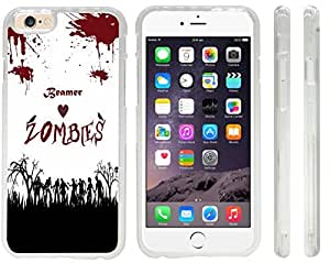 Beamer Loves Zombies on Red Grunge Personalized with Name Design iPhone 6 Case Cover (Clear Rubber with front bumper protection) for Apple iPhone 6 sell on Zeng case