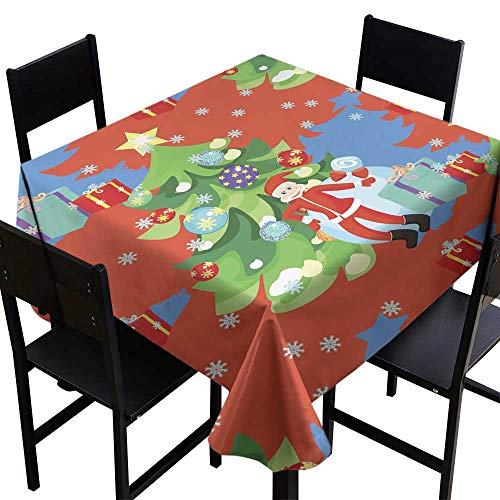 OUTDRART Square Tablecloth Wood Seamless Pattern of Santa Claus Christmas Tree in New Year s,W70 x L70 Square Tablecloth