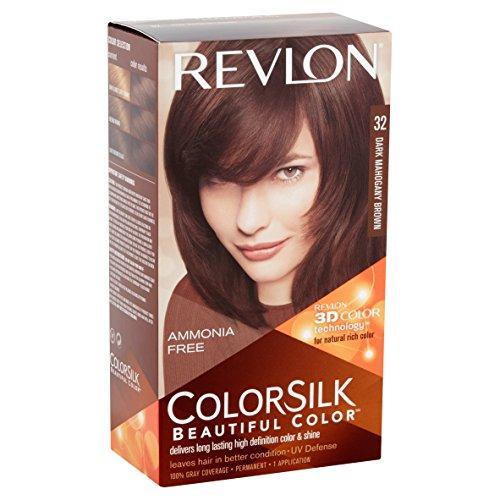 Revlon ColorSilk Hair Color, [32] Dark Mahogany Brown 1 ea (Pack of 4)