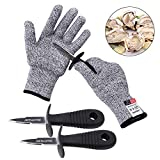 Oyster Shucking Knife -High Performance Level 5 Protection Food Grade Cut Resistant Gloves Stainless Steel Clam Shellfish Seafood Opener (1 pair gloves + 2 knives)(XL)