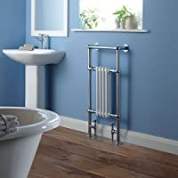 """Hudson Reed Chrome & White Traditional Hydronic Towel Warmer Radiator Rail Heated Rack - 18.3"""" x 36.8"""" - Angled Valves Included"""