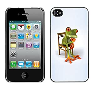 Soft Silicone Rubber Case Hard Cover Protective Accessory Compatible with Apple iPhone? 4 & 4S - philosophy frog white minimalist wonder