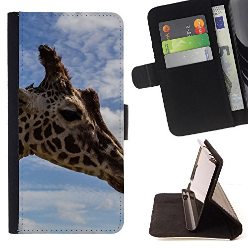 God Garden - FOR Apple Iphone 6 PLUS 5.5 - Animal Africa Giraffe - Glitter Teal Purple Sparkling Watercolor Personalized Design Custom Style PU Leather Case Wallet Fli