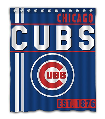 Chicago Baseball Team Emblem Waterproof Shower Curtain Blue Design Polyester For Bathroom Decoration 60 x 72 Inches With 12-Pack Plastic Hooks (Curtain Team Shower Bathroom)