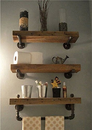 WGX Design For You Industrial Pipe Shelving Shelves Bookcase Rustic Wood Metal Wall Mounted Towel Bar Hanging Storage Racks Floating Wood Shelves (Towel Rack Wood)
