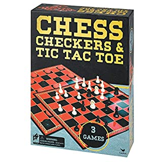 Cardinal Industries Chess/Checkers & Tic Tac Toe in Gold Foil Box Classic Game