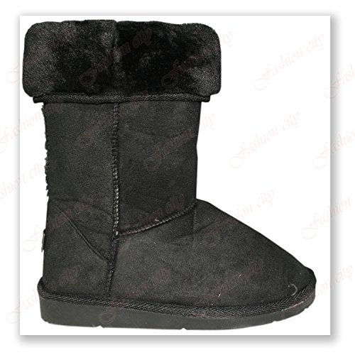 Saxy Rosa Snug Shoes Winter Comfy Fur Faux Flat Lined Collar Warm Ankle Boots (UK:{6}, Black)