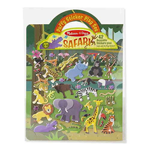 Melissa & Doug Safari Puffy Sticker Play Set (Activity Pads, Reusable Puffy Sticker Play Set, 42 Stickers, Great Gift for Girls and Boys - Best for 4, 5, 6, 7 and 8 Year Olds) from Melissa & Doug