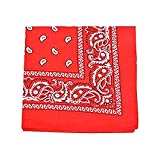 Paisley Bandanas Head Wrap, 100% Cotton Double Sided, 21 x 21 Inch (300 Pack, Red)