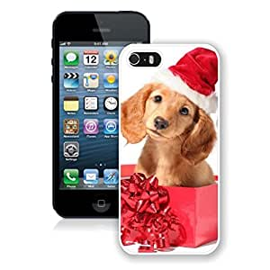 Customized Christmas Dog In Gift Box Iphone 5s Case,Phone Case For Iphone 5,Iphone 5 White TPU Cover