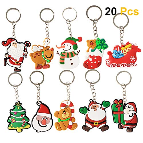 (SZBAM 20 Pcs Christmas Themed Keychains for Christmas Gifts Christmas Party Favors )