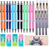 25 Pieces Mechanical Pencil Set,12 Pieces 0.5 mm and 0.7 mm Mechanical Pencils,8 Replaceable Tubes Lead, 4 Pack Erasers and a pencil case For School and Office