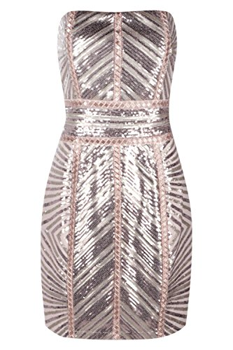 Boohoo Womens Premium Kyra Chevron Sequin Bandeau Dress In Blush Size 10 by Boohoo