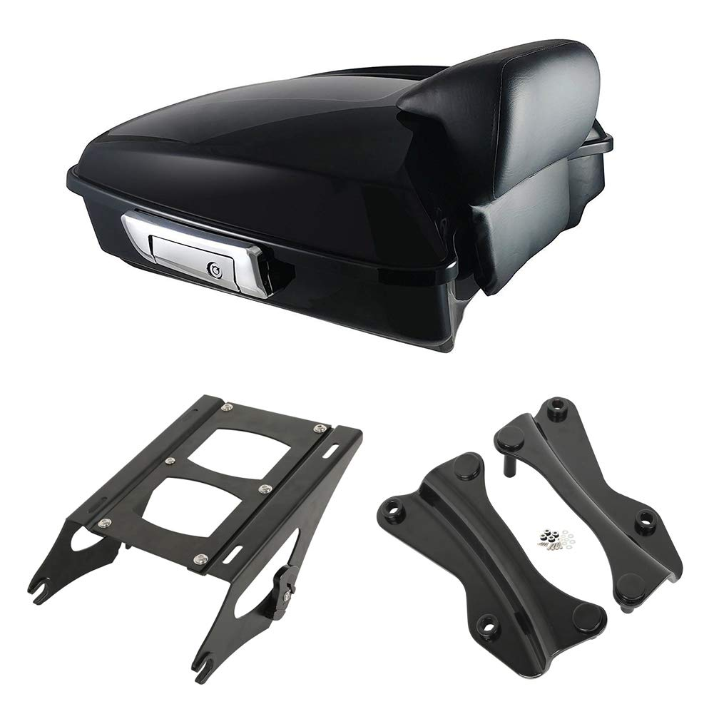 XMT-Moto Vivid Black Chopped Tour-Pak Luggage Kit w//Small Backrest Pad fits for Harley Davidson Touring Road King Road Glide Street Glide and Select CVO Models 2014-later Black Tour Pak Mounting Ki