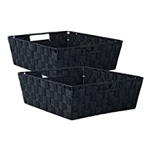 "DII Durable Trapezoid Woven Nylon Storage Bin or Basket for Organizing Your Home, Office, or Closets (Tray - 13x15x5"") Black - Set of 2"
