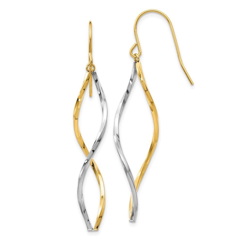 14k Two Tone Yellow Gold Twist Drop Dangle Chandelier Earrings Fine Jewelry Gifts For Women For Her