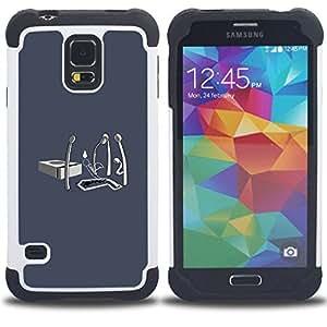 """SAMSUNG Galaxy S5 V / i9600 / SM-G900 - 3 en 1 impreso colorido de Altas Prestaciones PC Funda chaqueta Negro cubierta gel silicona suave (Partidos Vida Fuego Ending"""")"""