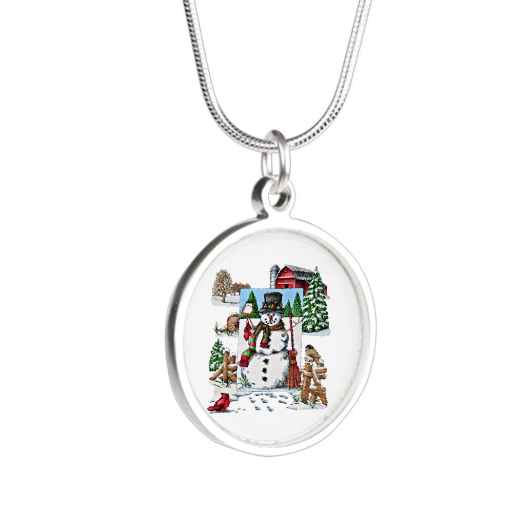 Royal Lion Silver Round Necklace Christmas Snowman and Cardinals