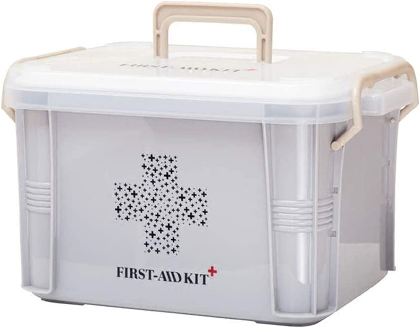Yardwe Contenedor de Primeros Auxilios Contenedor contenedor de Pastillas con Organizador de Almacenamiento de Kit de Emergencia Familiar de Hebilla de presión (tamaño S)