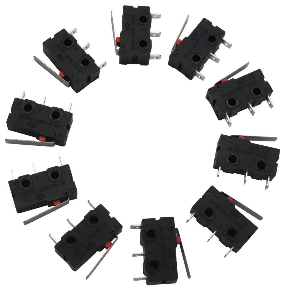 Twidec /10Pcs 5A 125 250V AC SPDT 1NO 1NC Short Lever Arm Switch Snap Action Button Type 3 Pins Mini Micro Limit Switch KW11-3Z02