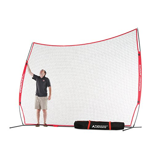Rukket 12x9ft Barricade Backstop Net | Indoor and Outdoor Lacrosse, Basketball, Soccer, Field Hockey, Baseball, Softball Barrier Netting for Backyard, Park, And Residential (Heavy Duty Lightweight Instant Steel)