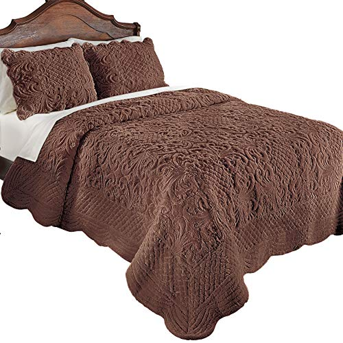 Collections Etc Elegant Ultra-Soft Faux Fur Plush Quilt Bedding with Scalloped Edges and Scroll and Lattice Patterns, Chocolate, King (Fur Shams Faux)