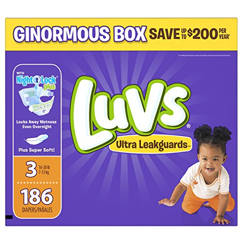 Luvs Ultra Leakguards Disposable Diapers Size 3, 186 Count, ONE MONTH SUPPLY (Bag Eco Diaper)