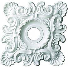 "18 Inch Square Ceiling Medallion 3 5/8"" ID White Primed Polyurethane #537 By Designer's Edge Millwork"