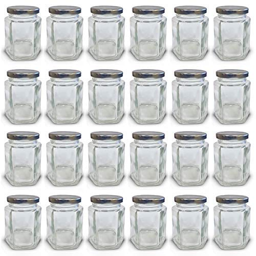 4 oz Hexagon Mini Glass Jars with Silver Lids and Labels (Pack of 24)