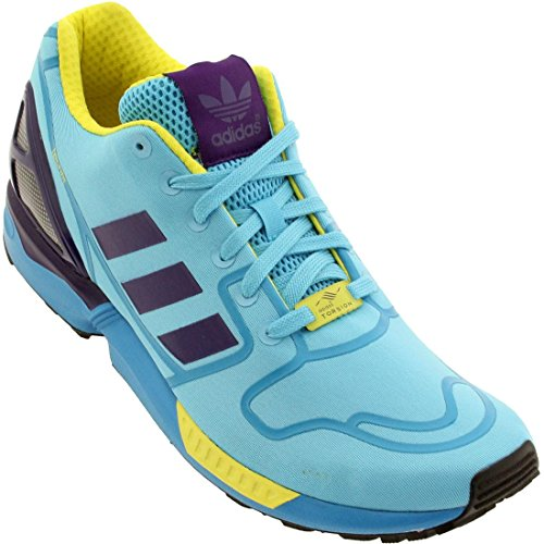 ZX Flux Techfit Mens (OG pack) in Bright Cyan/Purple/Yellow in by Adidas, 11
