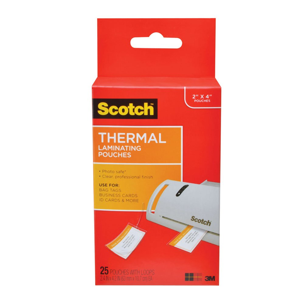 Amazon scotch thermal laminating pouches 248 in x 421 in amazon scotch thermal laminating pouches 248 in x 421 in luggage tag size with loop 25 pouches tp5853 25 office products reheart