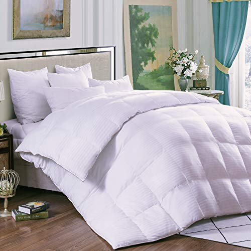 THREE GEESE MedMedium Weight White Goose Down Feather Comforter Warmth Duvet Insert,600Thread Count 100% Cotton Cover,Super Fluffy,King Size,White Stripes