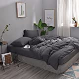 MisDress Ultra Soft Jersey Knit Cotton 3 Pieces Duvet Cover Set Soft and Durable Twin Comforter Cover and Pillowcases Twin XL Bedding Set Dark Gray for Boy Girls