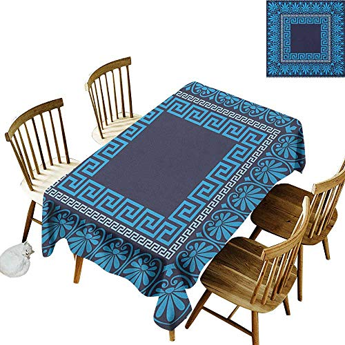 kangkaishi Washable Long Tablecloth Dinner Picnic Home Decor Grecian Meandros Pattern with Intricate Lines Floral Figures in Blue Shades W60 x L126 Inch Blue Dark Blue (Grecian Decor)