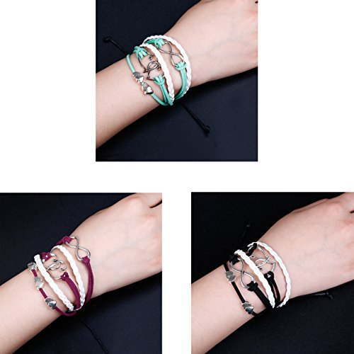 ORAZIO 3PCS Leather Wrap Bracelets for Women Girls Double Hearts Infinity Rope Wristband Friendship Bracelets Set Mens 3 Piece Gift