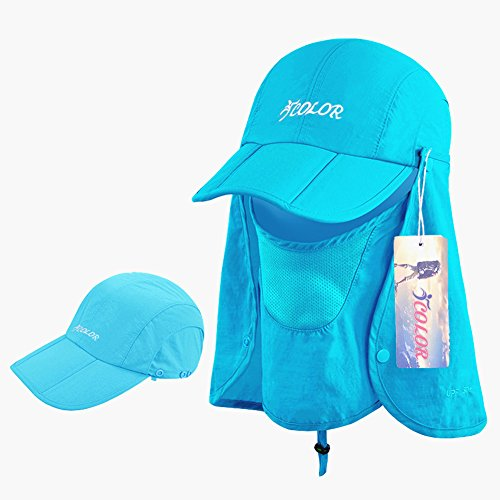iColor Folding Sun Cap,360°Protection Flap Hats,Man Women UPF 50+ Removable Neck & Face Flap Cover Cap for Baseball Backpacking Cycling Hiking Fishing Outdoor Camping Activities (Blue)