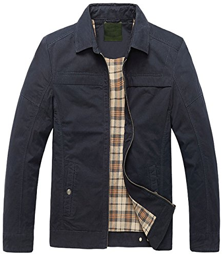 Basic Jackets Lined Barn Cotton Zip Full Collar Men's Chouyatou Spread Plaid NAVYBLUE a104q5nvx