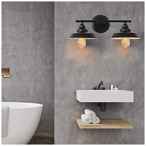Farmhouse Wall Sconces Bathroom Vanity Light, 2 Light Wall Sconce Fixture with Black Lampshades, Vintage Edison Wall Lamp Lighting for Bathroom… farmhouse wall sconces