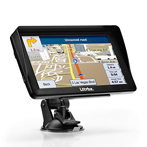 GPS Navigation for Car, Lttrbx 7 Inch HD Touch Screen Lifetime Maps Update Car GPS Navigation System 8GB Portable SAT NAV Vehicle Navigator with Driver Alerts Real Voice Spoken Turn-by-Turn Direct