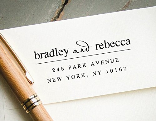 Self-Inking Custom Address Stamp, White Ink Personalized Rubber Stamp, Wedding Invitation Stamp by InkMeThis Calligraphy & Engraving