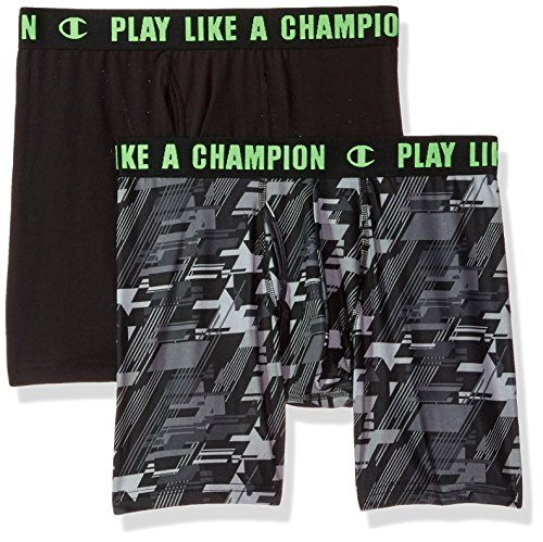 Champion Men's Ultra Lightweight Boxer Brief Black/34a, Black/Green Camo, Medium