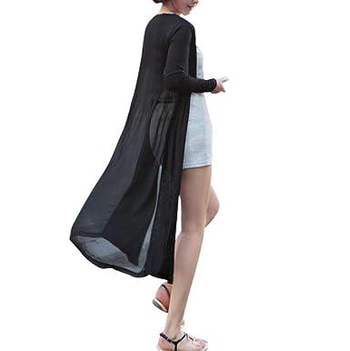 Women Boho Chiffon Splice Long Maxi Open Cardigan Shirt Jacket Kimono Coat UK