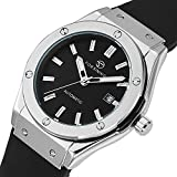 GuTe Men Automatic Watch,Classic Black Dial Black Rubber Strap Date Automatic Watch