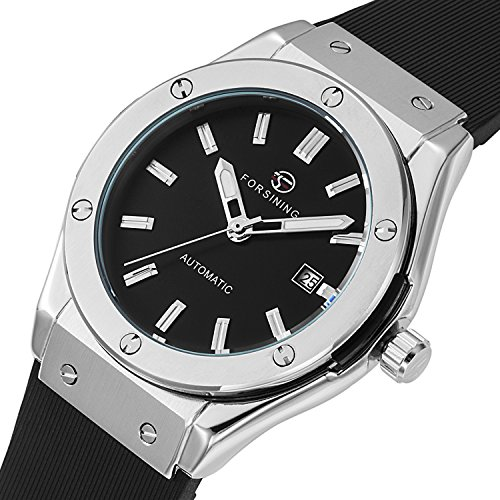 GuTe Men Automatic Watch,Classic Black Dial Black Rubber Strap Date Automatic Watch (Mens Automatic Watch)