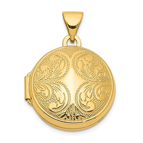 White Gold Round Locket - Jewel Tie 14K Yellow Gold 16mm Round Locket Scroll Design - (0.63 in x 0.63 in)