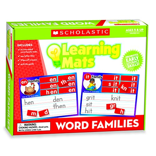 Scholastic TF-7114 Word Family Words Learning Mats, Multi (Pack of (Word Family Words Mats)
