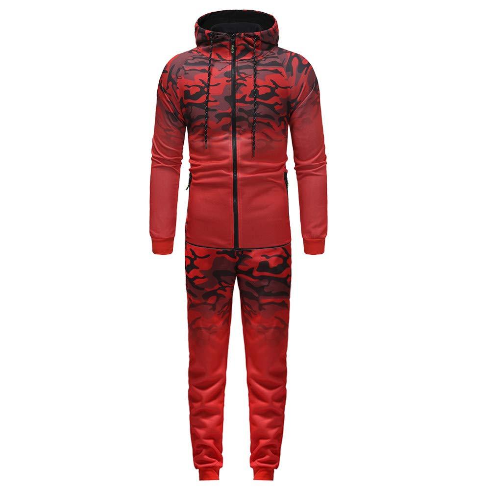 BSGSH Active Long Sleeve Tracksuit Set for Men, Men's Camo Zippper 2 Piece Jacket & Pants (M, Red)