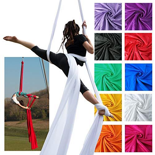 Firetoys Professional Aerial Silks Fabric/Tissues, Medium Stretch Silk WLL 282lbs (128kg) (White, 52 (16m))