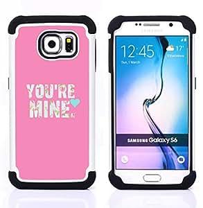 "Hypernova Híbrido Heavy Duty armadura cubierta silicona prueba golpes Funda caso resistente Para Samsung Galaxy S6 / SM-G920 [Texto Love So texto Corazón Novia""]"